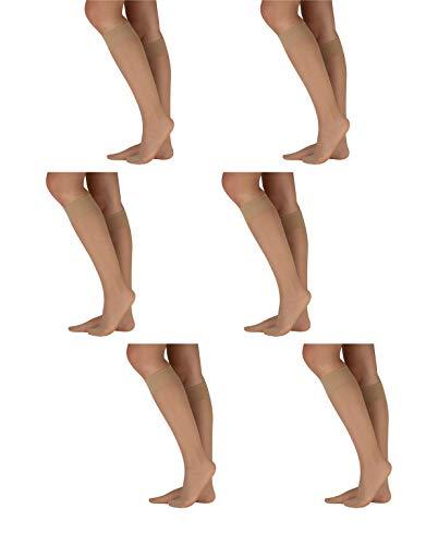CALZITALY 6 Paar von Damensocken aus Elastischem Lycra | Feine Elegante Kniestrümpfe | Schwarz, Hautfarbe | 18 DEN | Made in Italy (Einheitsgröße, Hautfarbe)
