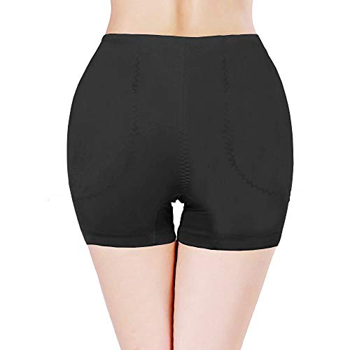 TerranEos Hip Enhancer Pads Panties Shapewear Removeable Fake Buttock Booty Pads Seamless Underwear for Women Black