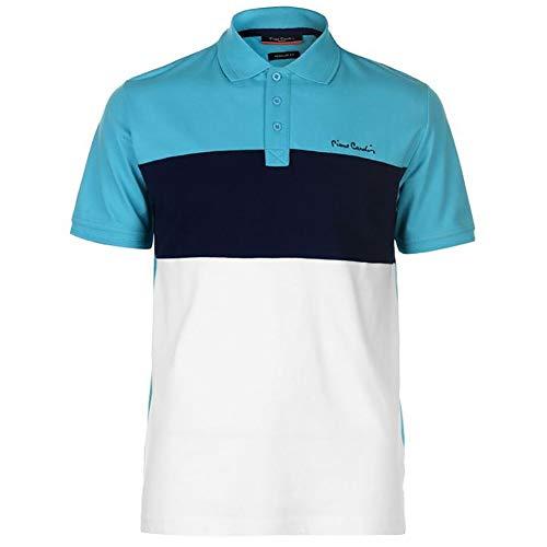 Pierre Cardin - New Season - Polo de piqué para hombre, 100% algodón, corte y costura, con cuello de piqué, con bordado de la firma Blanco/Turquesa XXL