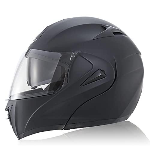 NBSMN Casco De Motocicleta, Casco De Motocicleta De Cara Completa Abatible con Visera Doble, Certificación ECE/Dot, para Casco De Carreras De Ciclomotor De Crucero De Mo B-XXL