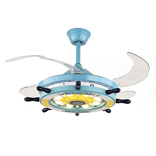 Ventilador de techo de 100 cm de estilo nórdico, con 4 hojas retráctiles, 3 colores que cambian 3 velocidades, ventilador y lámpara de araña en uno.