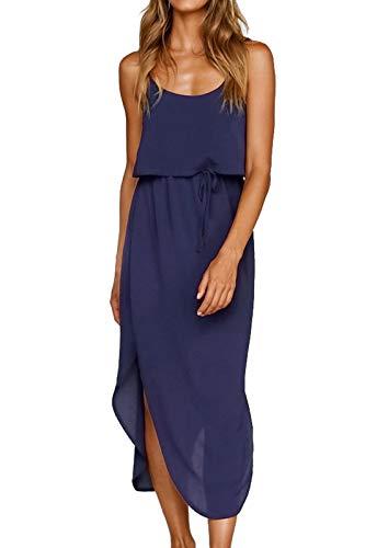 JayscreateEU Damen Strandkleid Sommer Chiffon Kleid Langes Elegantes Kleid Swing Sling Sexy Weiß Freizeitkleid