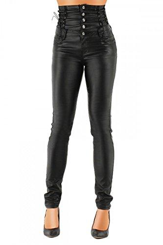 Damen Kunstlederhose hochwertige Damenhosen High Waist PU 324 (L / 40, Schwarz)