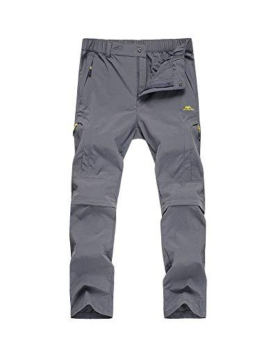 Yonglan Herren/Damen Trekkinghose Zip Off Atmungsaktiv Wanderhose Outdoor Hose Entfernbar Schnell Trockend Grau S