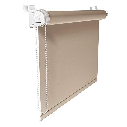 Victoria M. Klemmfix Verdunkelungsrollo ohne Bohren Rollo 110 x 150 cm, Beige, Seitenzugrollo Verdunkelung für Fenster und Türen