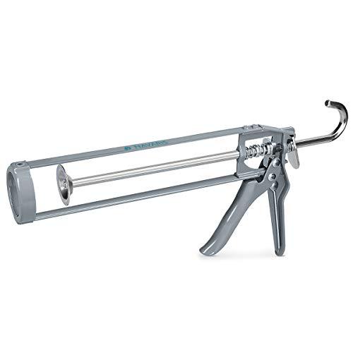 Navaris Skelett Kartuschenpresse Silikon Spritze - für 310 ml Kartusche - Metall Kartuschenpistole für Silikon Acryl Montageschaum - Silikonspritze