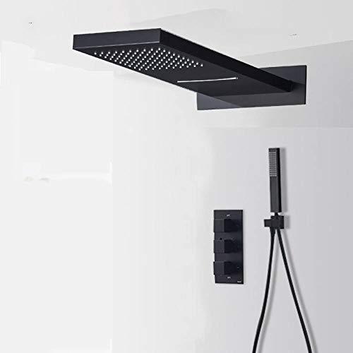 FMXKSW Sistema de Ducha Juego de Ducha de Cascada de LluviaNegra MateMezclador termostático Mezclador de Ducha de baño Grifo de Ducha de 3 vías Montado en la Pared, Negro Mate