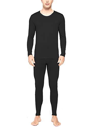 RIGPA - Conjunto de ropa interior térmica para hombre, ultra suave, cuello redondo, largo, capa base de John para acampar al aire libre, color negro L