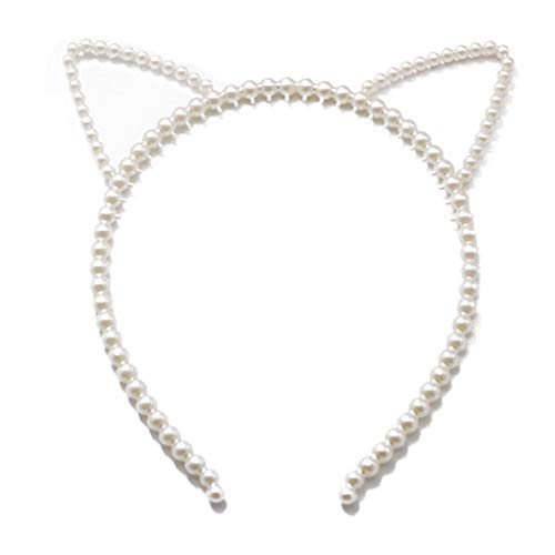 niumanery Korean Fresh Style Women Girl Thin Hair Hoop Cute Rabbit Cat Ears Bowknot Headband Imitation Pearl Beaded Jewelry Party Headwear A
