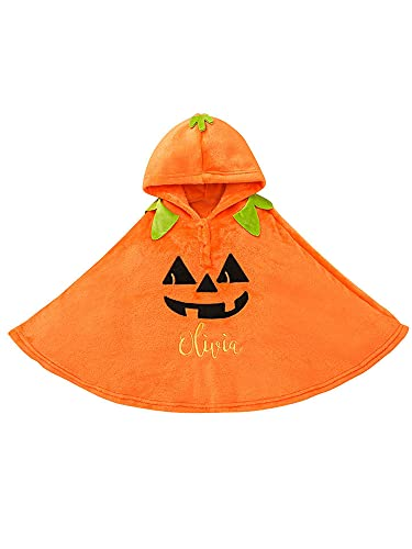 YILEEGOO Capa con capucha unisex para Halloween, diseño de cara de calabaza, capa de felpa naranja para disfraz de Halloween para niños, naranja, 6-7 Años
