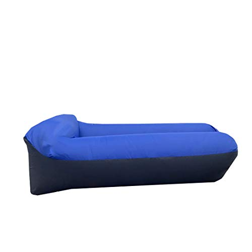 Opblaasbare Lounger Air Bank, U-Vorm Nekkussen Air Matras Sofa Blue, Waterdicht En Anti-Air Lekkende Opblaasbare Light Weight Camping Air Couch