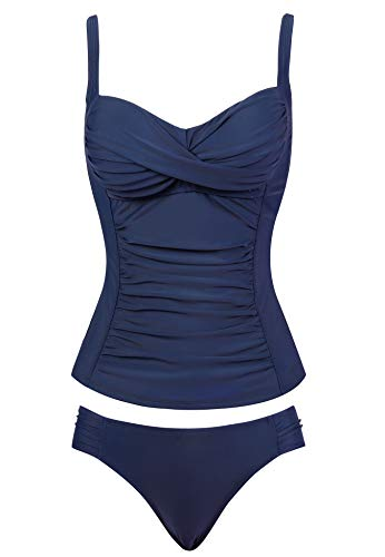 Womens Retro Vintage Dd Cup Tankini Swimsuit Two/2 Piece Bathing Suit(Navy Blue,Size 14)