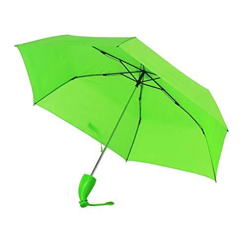 Regenschirm Kinder-Regenschirm Windproof Sturmfest Nylon Umbrella Wasserabweisend Leicht, Taschenschirm Stabil 6 Rippen Banana Form Griff, Regenschirm mit Heller Farbe