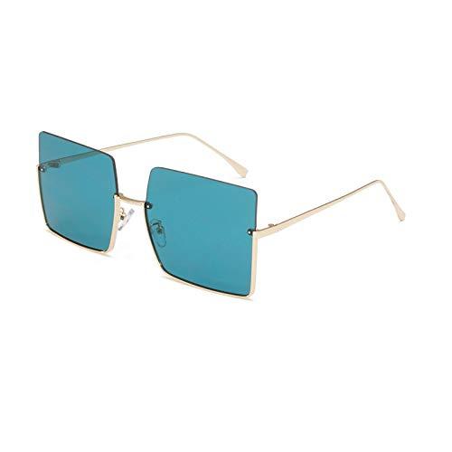 Gafas de Sol Gafas De Sol con Montura Media Sin Montura A La Moda para Mujer Y Hombre, Gafas Cuadradas con Degradado, Diseño De Marca, Gafas De Sol Semi Sin Montura Retro para Mujer, Uv400 C