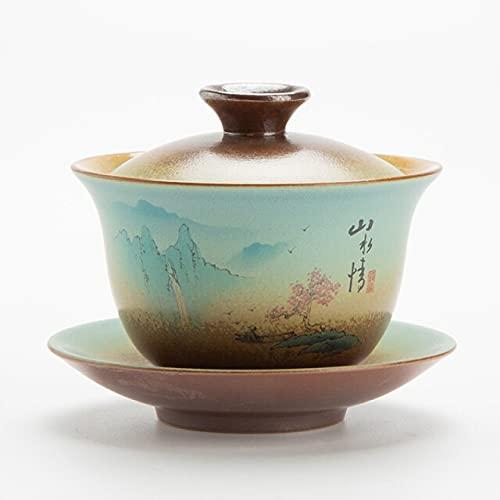 XIAOL Retro Firewood Covered Ceramic 180Ml Tea Bowl Tea Set Running Tea Tureen With Plate