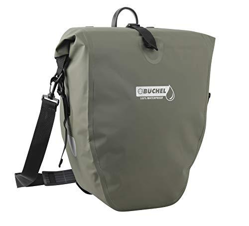 Büchel Fahrradtasche für Gepäckträger , 100 Prozent wasserdicht, verschiedene Farben, mit Schultergurt und Innenfach