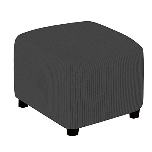 Easy-Going Stretch Ottoman Cover Folding Storage Stool Furniture Protector Soft Rectangle slipcover with Elastic Bottom(X-Small,Dark Gray)