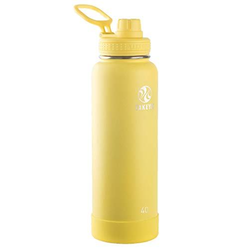 Takeya Actives Insulated Stainless Steel Water Bottle with Spout Lid, 40 oz, Canary