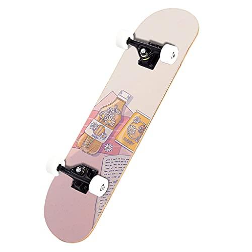 qiaoliang Skateboards para Principiantes Y Profesionales, 32'x 8' Monopatín Completo, 7-caply Canadiense Arce Doble Patada Y Trucos Patinetas para Niños Niñas Adultos