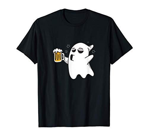 Halloween birra fantasma motivo fantasma divertente dicendo Maglietta