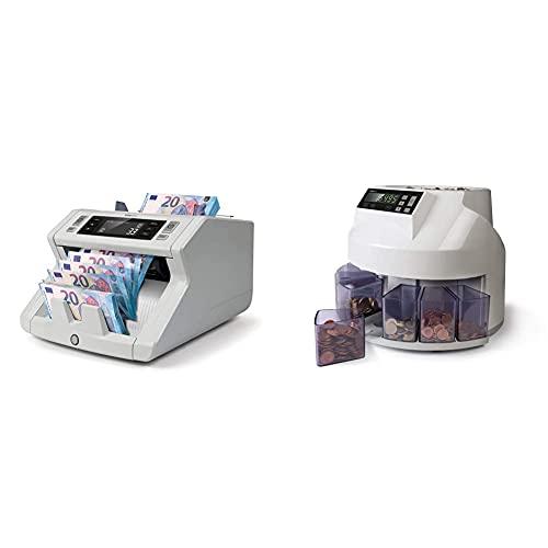 Safescan 2250 - Compteuse de billets pour les billets triés avec détection des faux billets sur 3 points & 1250 - Compteuse et trieuse de pièces de monnaie pour les pièces en euros