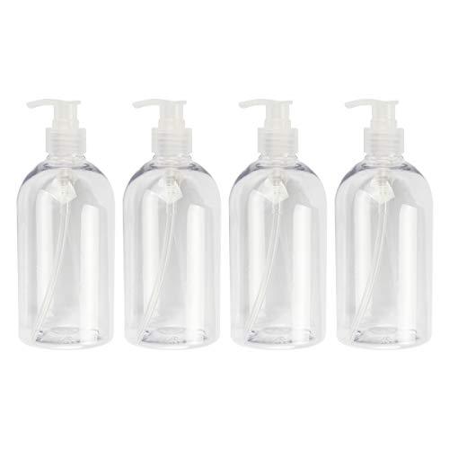 Kitchnexus Leer Flasche Seifenspender 500 ml 4 Stücke, Lotionspender Pumpflasche für Shampoo Liquid Seife (Transparent - 500ML)