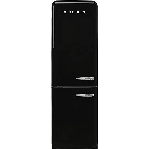 Smeg FAB32ULBL3 Upgraded Model 50s Retro Style Series 24-Inch Freestanding 9 Cu. Ft Refrigerator with 12.5 cu. ft Freezer, 2 Glass Shelves (Black Left Hand Hinge)