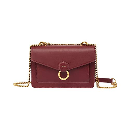 JW PEI Small Crossbody Bag Vegan Leather Metal Chain Adjustable Women Shoulder Purse (Wine Red)