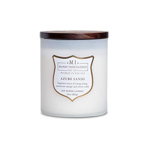 Manly Indulgence 115934 Azure Sands Scented Jar Candle, 15 Oz, White