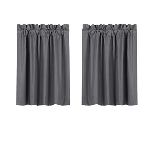 Valea Home Blackout Short Curtains Waterproof Soft Rod Pocket Kitchen Curtains for Bathroom Window Room Darkening Small Curtains for Bedroom, 2 Panels, 36 inch Length, Grey