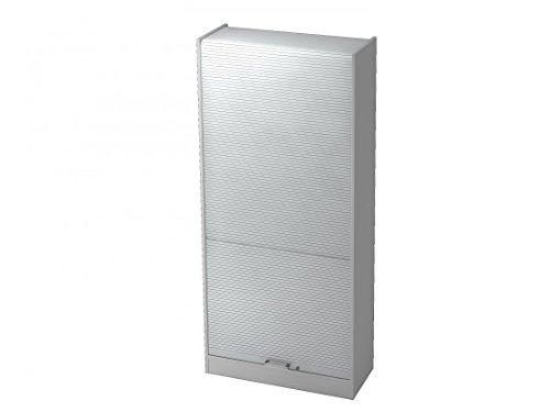 Büro-Schrank-Wandsystem DR-Büro Nevis - abschließbarer Rollladenschrank in 5 Ordnerhöhen - Maße 90 x 40 x 200,4 cm - in 4 Farbvarianten - erweiterbar, Farbe Büromöbel:Grau