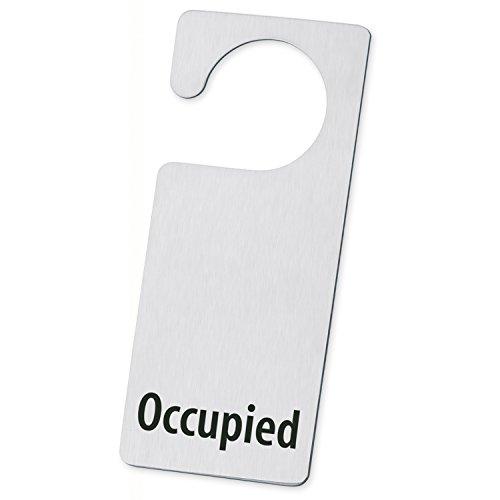 Minimalist Silver Occupied Stainless Steel Door Knob Hanger Sign