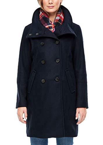 s.Oliver Damen Zweireiher-Mantel in Woll-Optik Dark Blue Melange 46