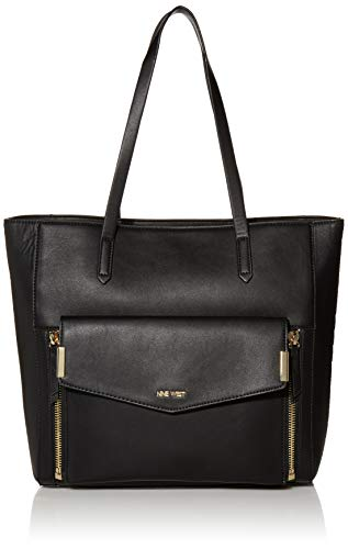NINE WEST Women's Devanna Shoulder Bag, Black, Larg