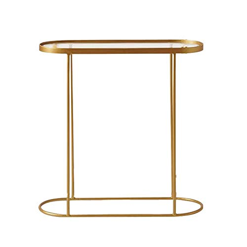 SENSEN Console Table,Display Table Entrance Cabinet Iron Art Decoration Table for Living Room Bedroom Gold 28×10×28 Inch