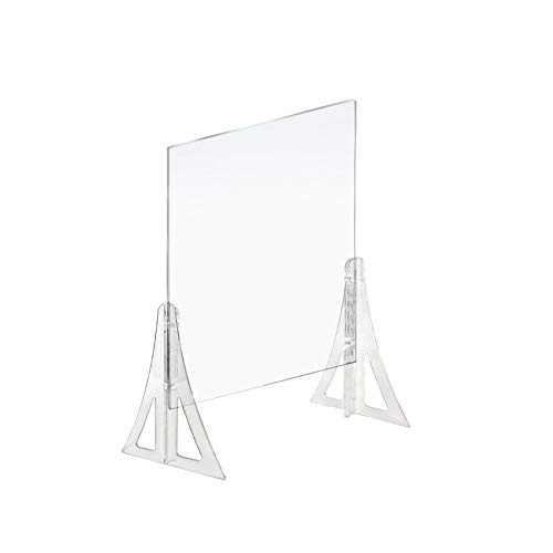 Azar Displays Protective Sneeze Guard for Counter and Desk - Portable Plexiglass Barrier (Pack of 2) - Acrylic Desk Shield Adjustable to Six Heights for Transaction Window. Plastic Shield for Desk
