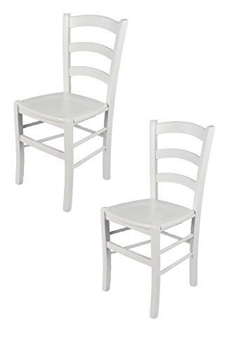 Tommychairs - Set 2 chaises Venezia pour Cuisine, Bar et Salle à Manger, Robuste Structure en Bois de hêtre laqué en Couleur Blanc et Assise en Bois
