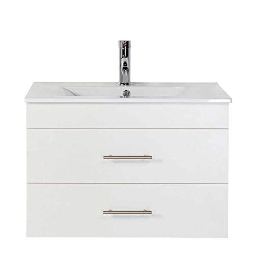 Pharao24 Waschschrank in Weiß Einlass-Waschbecken