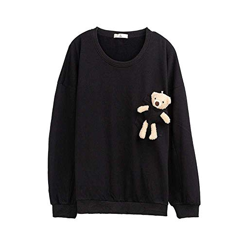 YANGPANGZI Suéter de Cuello Redondo de Oso de muñeca Nuevo otoño de Talla Grande para Mujer