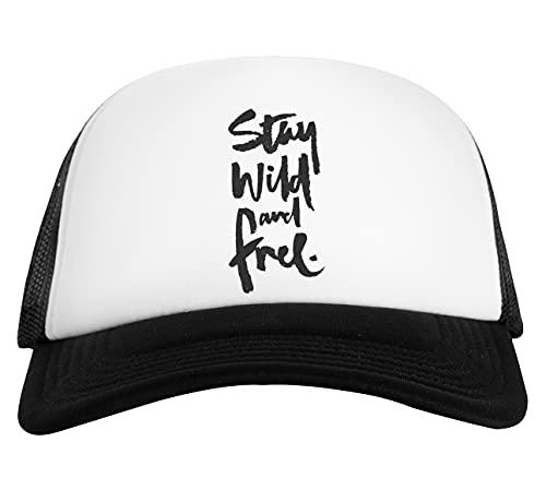 Stay Free Stay Wild Gorra De Béisbol Unisex Blanca Negra White Black Baseball Cap Unisex