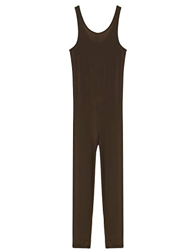 FEESHOW Womens Sexy Mesh Lingerie Crotch Zipper Sleeveless Bodystocking Catsuit Bodysuit Clubwear