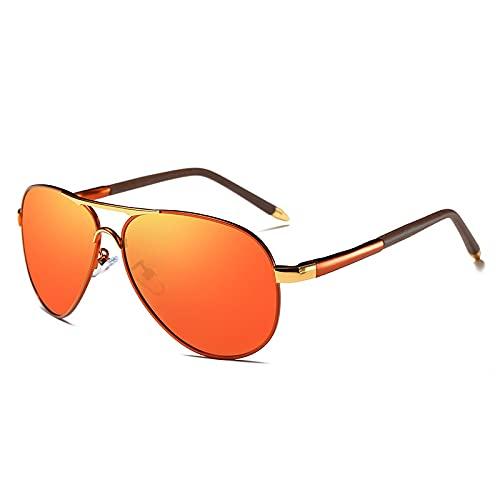 Gafas de sol para hombre: los nuevos hombres polarizados gafas de sol primavera pierna retro espejo puede ser adyacente a la gafas (naranja)