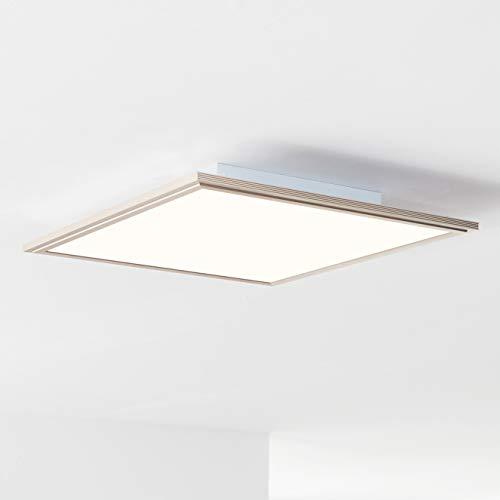 LED Panel Deckenleuchte, RGB-Hintergrundbeleuchtung 42x42cm, 32 Watt, 2500 Lumen, 2700-6200 Kelvin aus Metall/Acryl in nickel eloxiert