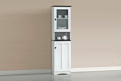 Wholesale Interiors Lauren Two-Tone Buffet and Hutch Kitchen Cabinet, White/Dark Brown
