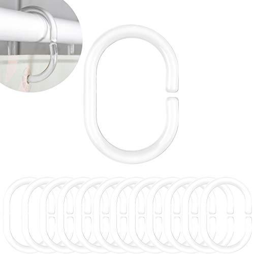 Duschvorhang Ringe klar, 12 Pack, Transparent, 4.6 x 2.9 cm Innendurchmesser für Duschvorhangstangen, Duschringe, aus stabilem Kunststoff, Ringe für Duschvorhang, glasklar Duschvorhangringe, Haken