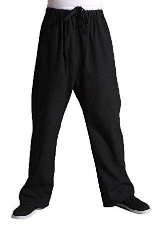 Men's Martial Arts Pants Kung Fu Cotton Trousers (L, Black)
