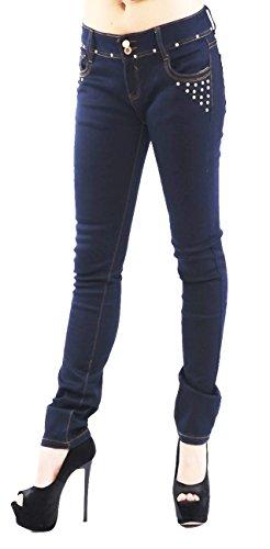 Unbekannt Redial Stretch Jeans mit funkelnden Strasssteinchen, Club, Party, Business, Freizeit, blau, Gr. S