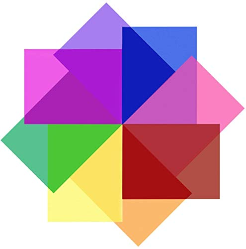 VOARGE 30 x 30cm Transparente Farbkorrektur-Licht-Gel-Filter Set Packung, Farbige Overlays Kunststoff Folien Korrekturgel Licht Filter Blatt, 8