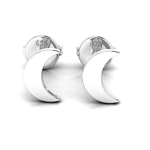 Sterling Silver Crescent Moon Stud Earrings – Gift Boxed 925 Silver Earrings for Women 7mm (Silver)