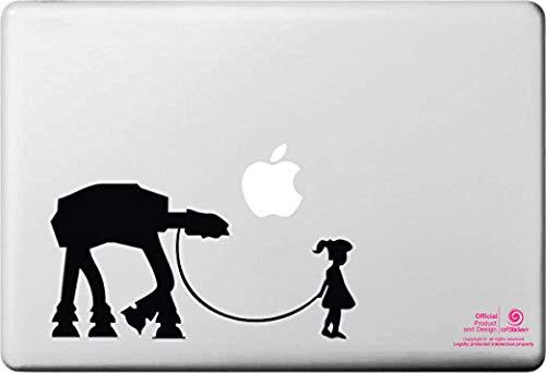 Pegatina para portatil de 15' y 17' Pulgadas. Star Wars, Banksy. Diseño niña con Mascota, Tortuga .Adhesivo para Apple MacBook Pro Air Mac Portátil. Color Negro.Regalo Spilart,Marca Registrada